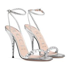 Gucci Silver Braided Metallic Leather Sandals Size US Regular (M, B) - #metallicleather - Gucci Silver Braided Metallic Leather Sandals Size US Regular (M, B)... Lace Up Ankle Boots, Shoe Boots, Shoes Heels, Cute Shoes, Me Too Shoes, Stiletto Heels, High Heels, Women's Stilettos, Talons Sexy