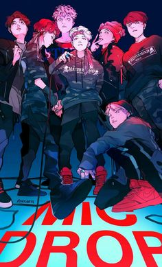 This fanart is amazing but its not mine ♥ Mic Drop from BTS and Steve Aoiki Anime Wolf, Anime Angel, Anime Outfits, K Pop, Namjoon, Taehyung, Bts Anime, Animé Fan Art, Fanart Bts