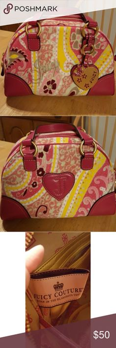 JUICY COUTURE Paisley Floral Bowler Bag Purse Authentic Juicy Couture Martinique paisley bowler bag in pink. Excellent preowned condition. Pink floral paisley with pink handles and trim. Super cute gold Juicy butterfly fob/ charm in front! Zip top with zippered pocket inside as well as cell phone and lip gloss pockets, and mirror. RARE and super cute for summer!! Juicy Couture Bags Satchels