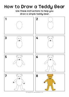 How to Draw a Teddy Bear Instructions Sheet (SB11508) - SparkleBox