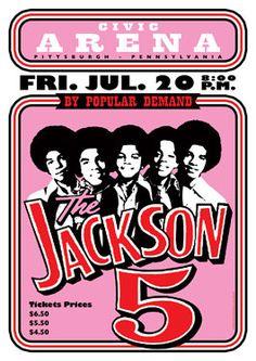 JACKSON 5 - Michael Jackson - Pittsburgh - 27 July 1973 - retro artistic concert poster
