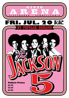 JACKSON 5 - Michael Jackson - Pittsburgh - 27 July 1973 - retro artistic concert poster