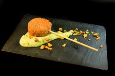 Piruleta de pistacho y gambas con crocanti. Restaurante Culinart. #Elche #visitelche #destapateelche #gastronomia #ocio #restaurantes #concurso