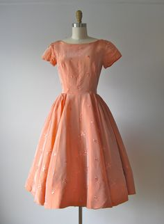 reserved for Martha only!    vintage 1950s party dress  iridescent peachy coral hue  with embroidered leaf patten  wide collar, short sleeves  center