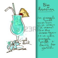 Illustration with hand drawn Blue Hawaiian cocktail