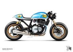 Moto : Visualizando Motocicletas feitas sob encomenda com Holographic Hammer – Moto Riv… Retro Motorcycle, Cafe Racer Motorcycle, Moto Bike, Motorcycle Design, Bike Design, Vintage Motorcycles, Custom Motorcycles, Custom Bikes, Cafe Bike