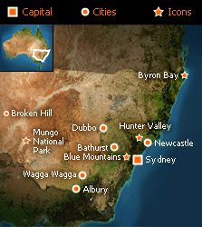 New South Wales - This gives a clearer idea of where we are placed on our lovely land of Australia. Coonabarabran is just above DUBBO (well almost a 2 hour drive away) Australian Plants, Holiday Places, Cultural Experience, Blue Mountain, Byron Bay, South Beach, Dream Vacations, Day Trips, The Good Place