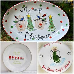 Handprint and Footprint Christmas Plate Designs - Fun Handprint Art - - Who can resist handmade decor of little hands & feet? Here are Handprint and Footprint Christmas Plate Designs that make the sweetest gifts & keepsakes. Christmas Gifts For Parents, Christmas Tree Crafts, Preschool Christmas, Christmas Plates, Handmade Christmas Gifts, Homemade Christmas, Christmas Projects, Kids Christmas, Holiday Crafts