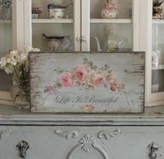 "Barnwood Framed/Printed on Wood French Farmhouse Romantic Roses ""Life Is Beautiful"" in English by Debi Coules"