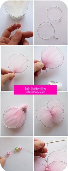 DIY Tulle Butterflies Tutorial - learn to craft these no-sew butterfly decorations for your home or party, ideal for a pink garden party! Tulle Projects, Tulle Crafts, Fun Crafts, Diy And Crafts, Craft Projects, Crafts For Kids, Arts And Crafts, Butterfly Party, Butterfly Crafts