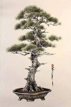 Chinese Painting, Chinese Art, Plantas Bonsai, Mini Bonsai, Tree Sketches, Art Pictures, Photos, Abstract Nature, Japan Art
