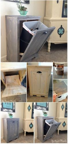 Hand-built wooden Tilt-out Trash Can Cabinet 22 Genius DIY Home Decor Projects You Will Fall In Love With! The post Hand-built wooden Tilt-out Trash Can Cabinet 22 Genius DIY Home Decor Projects appeared first on Decoration. Retro Home Decor, Easy Home Decor, Handmade Home Decor, Cheap Home Decor, Diy Home Decor On A Budget Living Room, Handmade Wooden, Budget Living Rooms, Wooden Hand, Wooden Diy