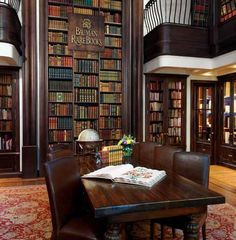 Leather chairs, leather books, Persian rugs, dark wood...am I in heaven?    Bauman Rare Books    Madison Avenue, New York