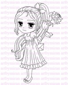 Digital Stamp-Rosy Cheek Emma(#105), Digi Stamp, Coloring page, Printable Line art for Card and Craft Supply