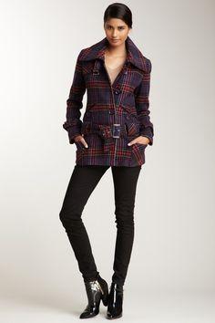 {plaid mod coat} Nicole Miller - diggin' the buckled waist, has a '60s vibe
