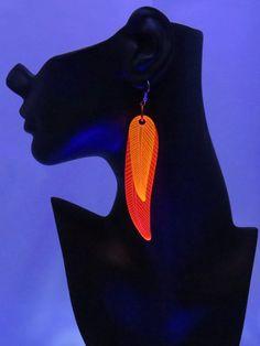 Glowing Feather Earrings - In Stock - Black Light Phoenix Red Orange