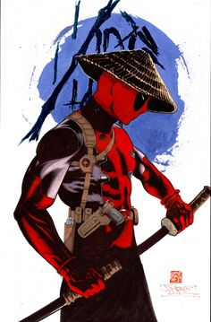 (Deadpool Samurai) By: James Pascoe. Deadpool Art, Deadpool Funny, Marvel Dc Comics, Marvel Heroes, Deadpool Live Wallpaper, Karate Shotokan, Avengers, Marken Logo, Nerd Art