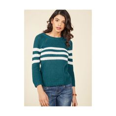 Mind Over Alma Mater Striped SweaterTeal ($33) ❤ liked on Polyvore featuring tops, sweaters, apparel, pullover, varies, striped sweater, sport sweaters, green knit sweater, blue striped sweater and knit sweater