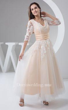 b453c08a7118 Deep-V-Neck Half-Sleeve Ankle-Length Lace Dress With Pleats -