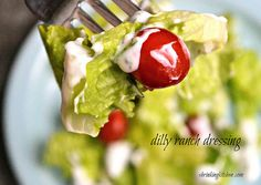 Dilly Ranch Dressing - Yields 10 Servings From Shrinking Kitchen Healthy Side Dishes, Heart Healthy Recipes, Skinny Recipes, Healthy Foods To Eat, Healthy Eating, Healthy Sides, Healthy Dinners, Yogurt Ranch Dressing, Healthy Menu Plan