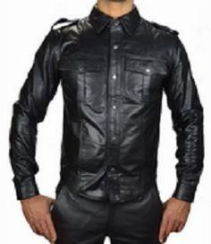 Long Sleeves Leather Uniform Shirt