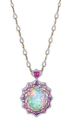 work/ Opal and pink sapphire pendant necklace rubies.work/ Opal and pink sapphire pendant necklace Blue Sapphire Necklace, Sapphire Pendant, Opal Necklace, Sapphire Gemstone, Opal Jewelry, Pink Sapphire, Bridal Jewelry, Pendant Necklace, Yellow Diamonds