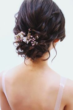 blooming wedding hair bouquets updo with gentle flowers christinechiamakeup