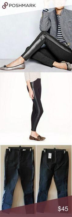 """NWT J. Crew Gigi Leather Tuxedo Stripe Pant Pants Brand new with tags. Factory version of (and identical to) the hugely popular Pixie Pant. Faux leather tuxedo stripe down sides. These are like leggings but more structured. Tapers at ankle. Statement back zipper. In Heather Charcoal. 30"""" inseam. Dry clean. Viscose/nylon/spandex. $98 retail. SZ 2. J. Crew Pants Skinny"""
