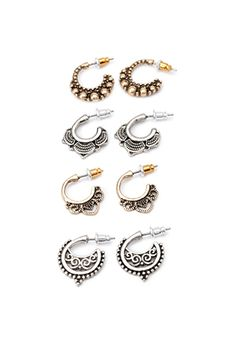 Etched Filigree Hoops Set | Forever 21 - 1000132451