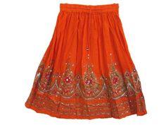 Gypsy Hippy Skirt Orange Lehenga Print Boho Sequin Gypsy Skirts Mogul Interior,http://www.amazon.com/dp/B00D9PAVXO/ref=cm_sw_r_pi_dp_fKQbsb1E1E9B2PSQ
