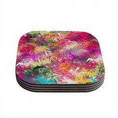 Kess InHouse Danny Ivan 'Splash' Rainbow Abstract Coasters