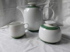Melitta-1-Kaffeekanne-Teekanne-Porzellan-weiss-gruen-Regatta-1-1l-edel