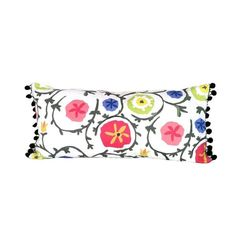 Dana Gibson Ramoshka Lumbar Pillow: A darling lumbar pillow featuring bright wild flowers and scrolling vines finished with black pom pom trim from Dana Gibson! Down fill insert. Dry clean only. Pillow Set, Lumbar Pillow, Pillow Covers, Pillow Talk, Traditional Pillows, Pom Pom Trim, Pom Poms, Cotton Pillow, Bird Feathers