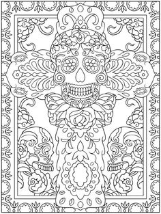 Dover publications coloring books adult coloring pages sugar skulls best of day of the dead coloring Skull Coloring Pages, Cool Coloring Pages, Coloring Pages To Print, Printable Coloring Pages, Coloring Sheets, Adult Coloring, Coloring Books, Free Coloring, Mandalas Painting