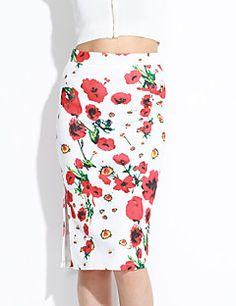 Women's+Floral+Red+SkirtsStreet+chic+Knee-length+–+USD+$+43.30