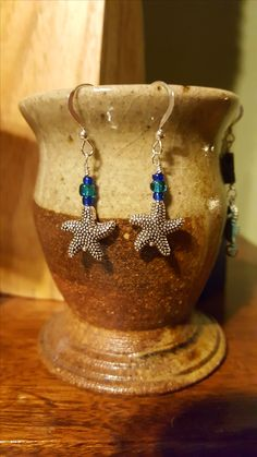 glass bead and star fish on sterling silver ear wires