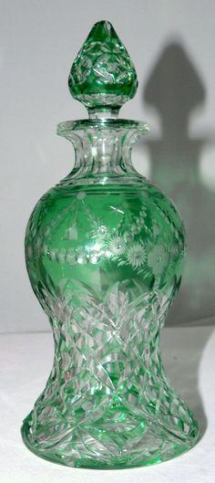 "Abp c1900 Fine Elegant Cut Glass Decanter Rock Crystal Green to Clear 8"" | eBay"