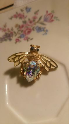 Gold Plated Bee Pin Bumble Bee Pin Created With Swarovski