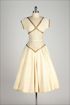 vintage 1950s golden beaded dress by millstreetvintage