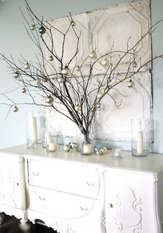Sticks and ornaments! For the mantel