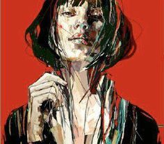 Painting by Anna Bocek. I was immediately drawn to the use of red black and tints of white and the hints of green reflected light under her nose. The solid red ground contrasting the expressive strokes balances nicely.