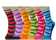 Lady's Tidal Wave Pattern Novelty Crew Socks - Assorted 6 Pairs Yelete. $13.99