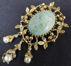 Vintage SIGNED Designer Brooch Pin Goldette Dangle Pearl Faux Agate Stone Glass