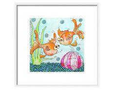 A personal favorite from my Etsy shop https://www.etsy.com/listing/176421655/goldfish-art-print-fish-art-wall-art