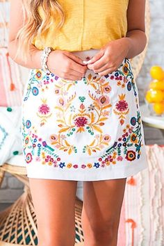 Island Of Capri Embroidered Skirt in White embroidered skirt! It features a flower embroidery detail that we have got all the heart eyes for! Wear this flattering black skirt with a basic tank for an effortless look! Moda Floral, Ethno Style, Fashion Outfits, Fashion Tips, Fashion Trends, Womens Fashion, Dress Fashion, Fashion Websites, Fashion 2018