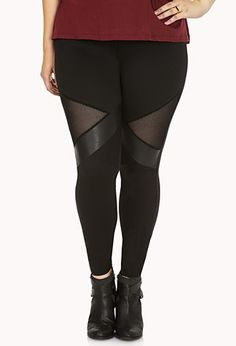 Forever 21+ - A pair of leggings featuring faux leather and mesh panels. Elasticized waist. Knit. Lightweight.