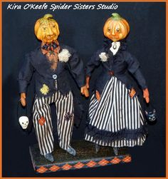 Primitive Folk Art Halloween Couple Attend Masquerade Ball~ One of a Kind Dolls…