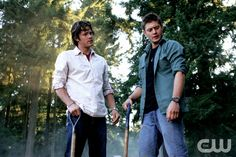 """""""Children Shouldn't Play with Dead Things""""-- (L-R) Jared Padalecki as Sam Winchester and Jensen Ackles as Dean Winchester star in SUPERNATURAL on The CW. Photo: Michael Courtney/The CW� 2006 The CW Network, LLC. All Rights Reserved.pn"""