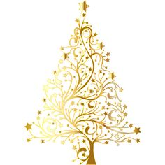 Starry Christmas Tree Gold No Background ❤ liked on Polyvore featuring christmas, xmas and backgrounds