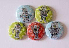Retro Robots Nerdy Geeky Math 1 Pinback Button by robyriker